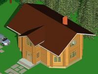 Общий вид дома по проекту. Слева изображение автомобиля для масштаба
