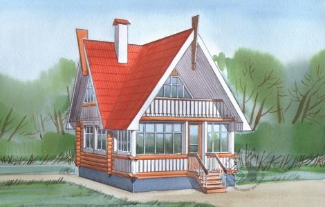 загородный дом из бревна